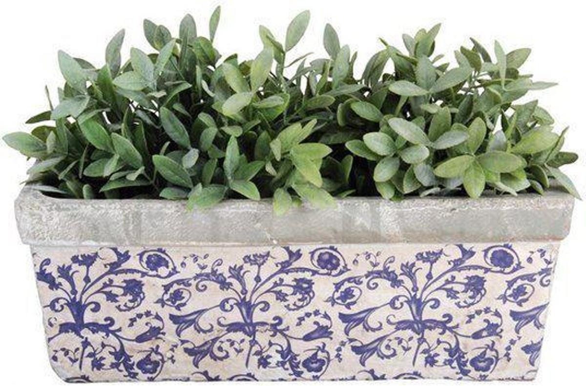 Balkonbak Aged ceramic blauw/wit
