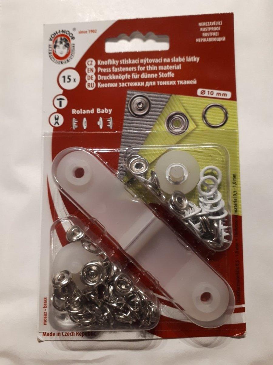 Babydrukkers wit. Open ronde drukknopen. 10mm doorsnee.