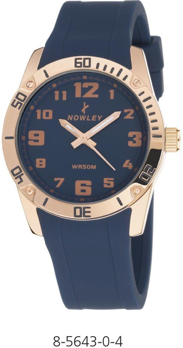 Nowley 8-5643-0-4 analoog tiener horloge 36 mm 50 meter blauw/ rosé kopen