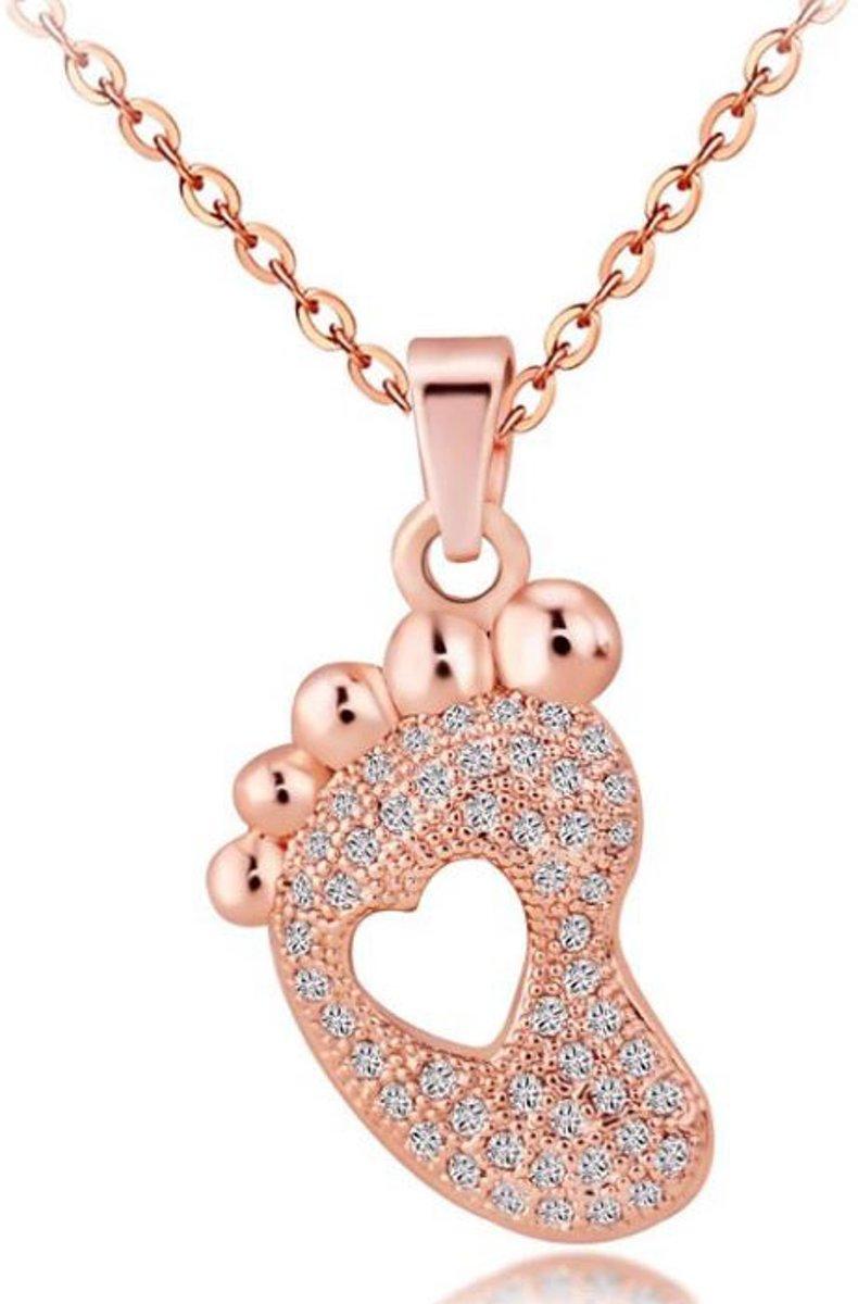 Ketting met hanger baby  voetjes - rosegold metalen ketting - mama cadeau - moeder geschenk kopen