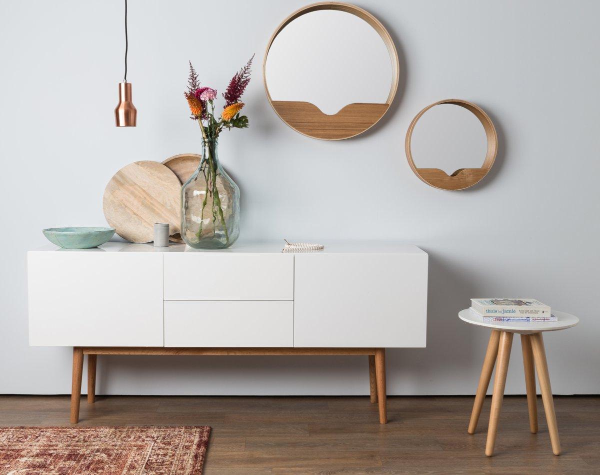 Zuiver Leaning Spiegel : Bol zuiver round wall spiegel bruin