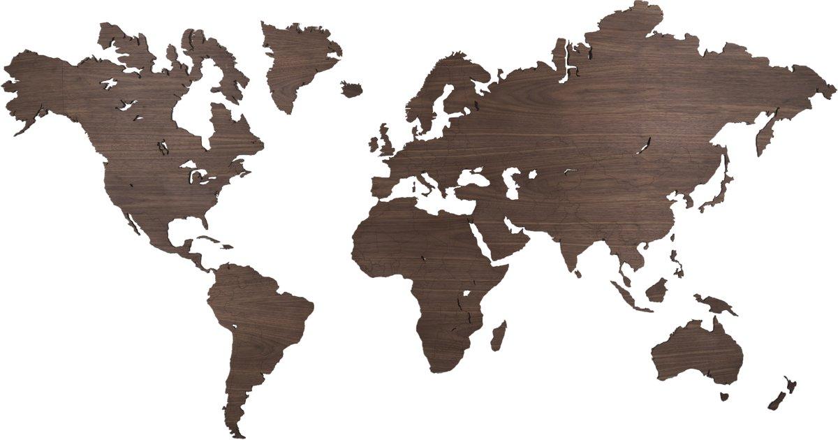 Noten wereldkaart 216 x 117cm