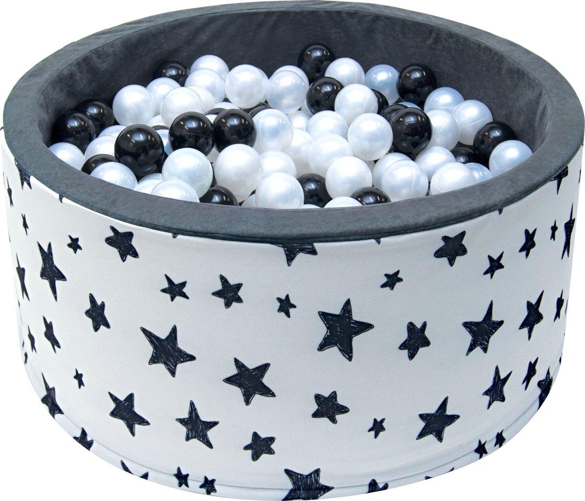 Ballenbak - stevige ballenbad - sterrenpatroon -90 x 40 cm - 200 ballen Ø 7 cm - zilver, wit en zwart