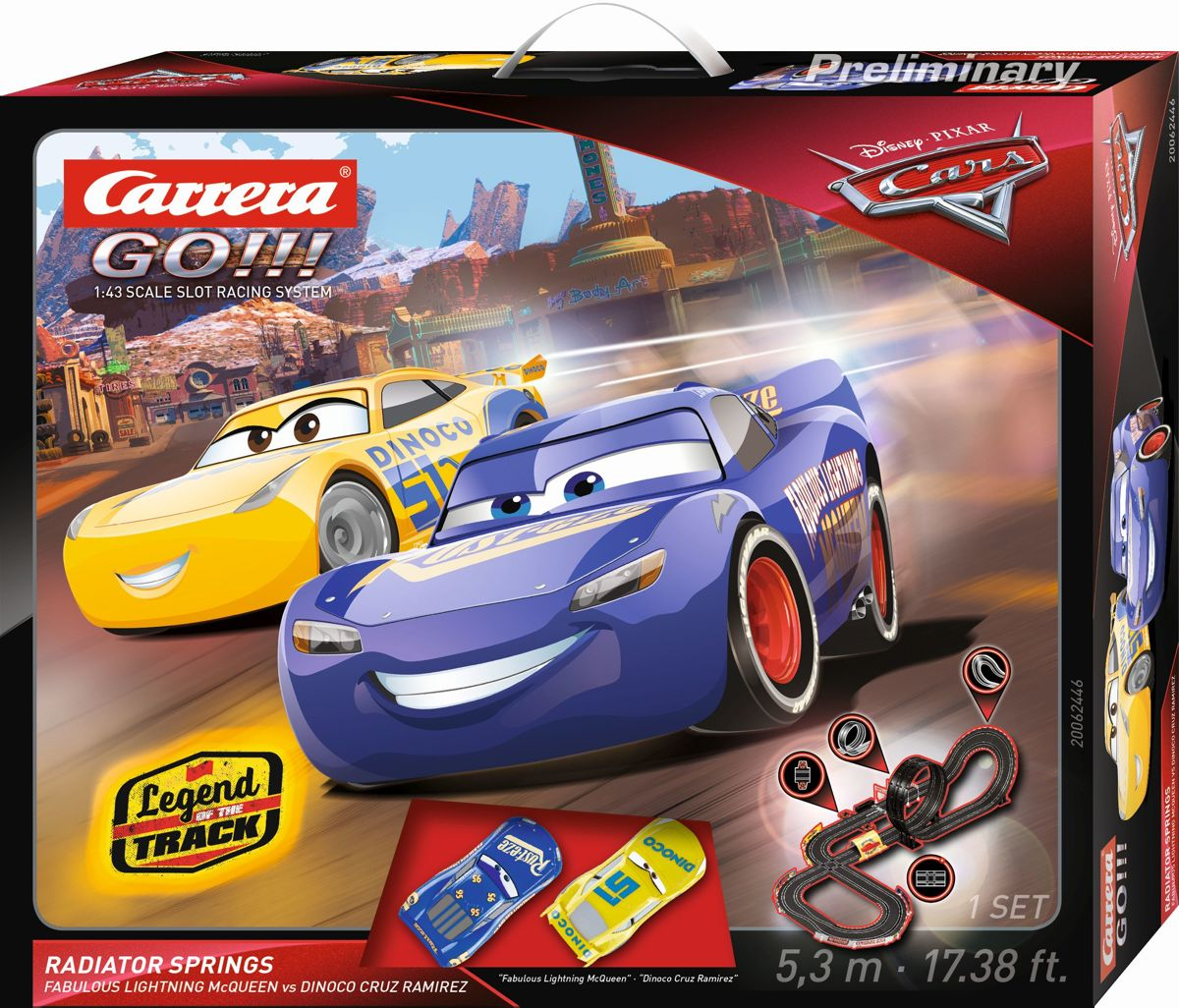 Carrera Go racebaan Disney Pixar Cars 530 cm zwart