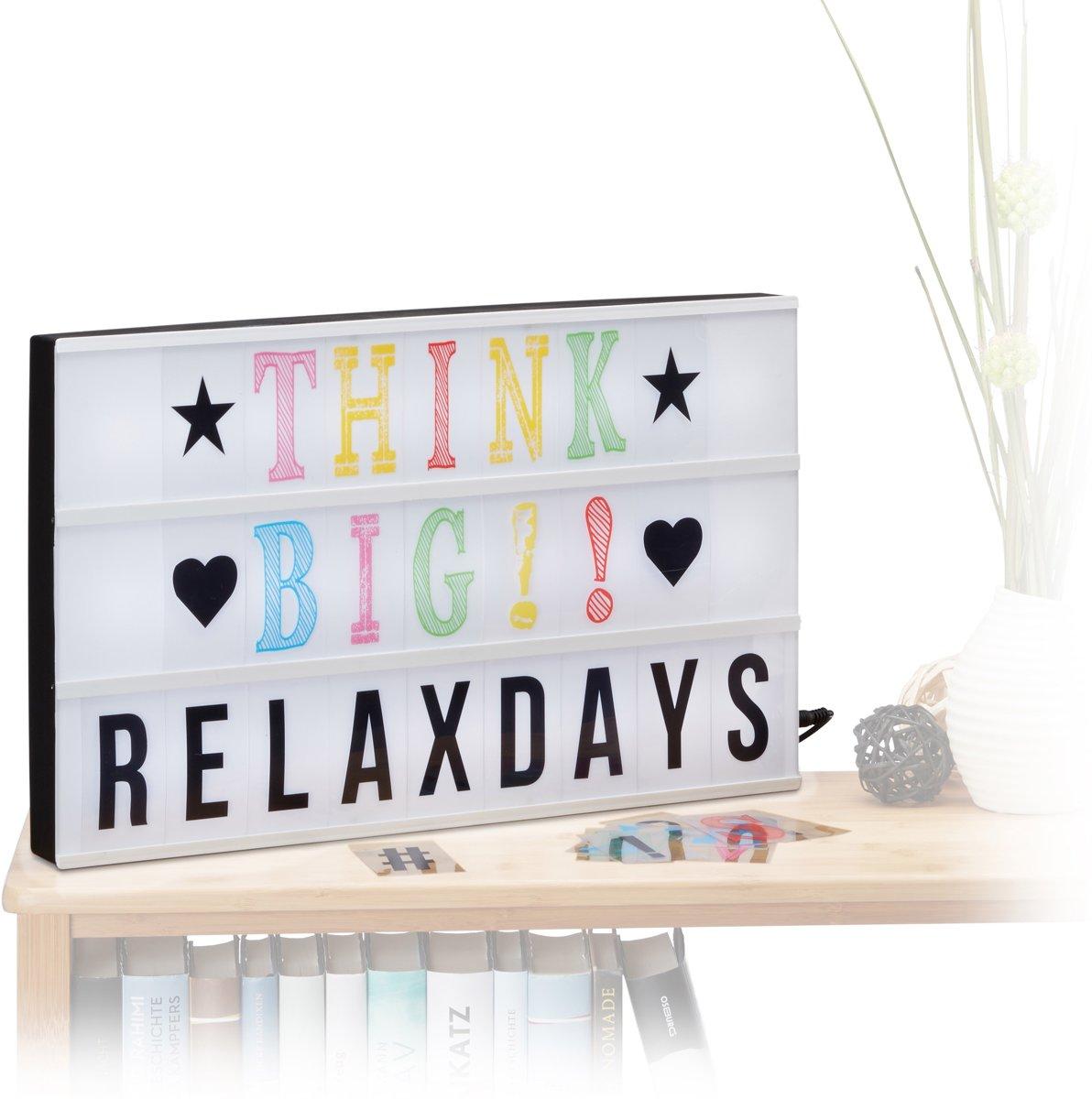 relaxdays lightbox groot - 30,5 x 50 x 4,5 cm - 170 letters en symbolen - usb aansluiting kopen