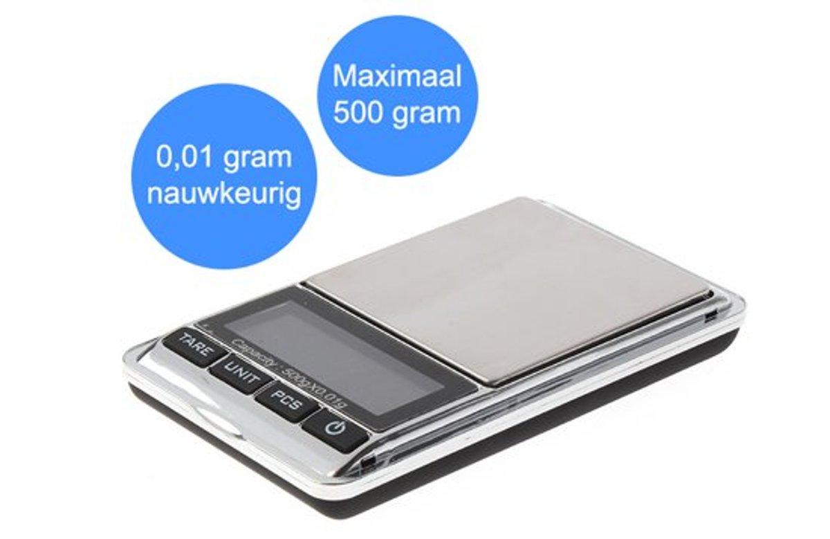 Professionele Mini weegschaal (0,01 tot 500 gr Inclusief batterijen / Digitale weegschaal / Precisie weegschaal / Keuken weegschaal / Zakweegschaal