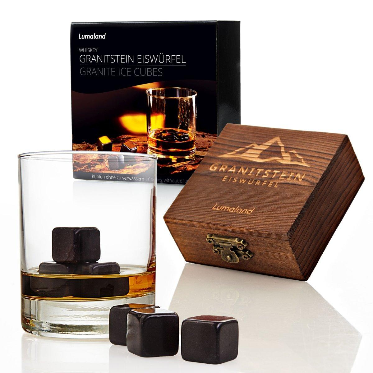 Lumaland - Whiskey stenen - van hoogwaardig graniet - Whiskey stones - incl. houten doos en opbergtasje - Set van 6 - Zwart kopen