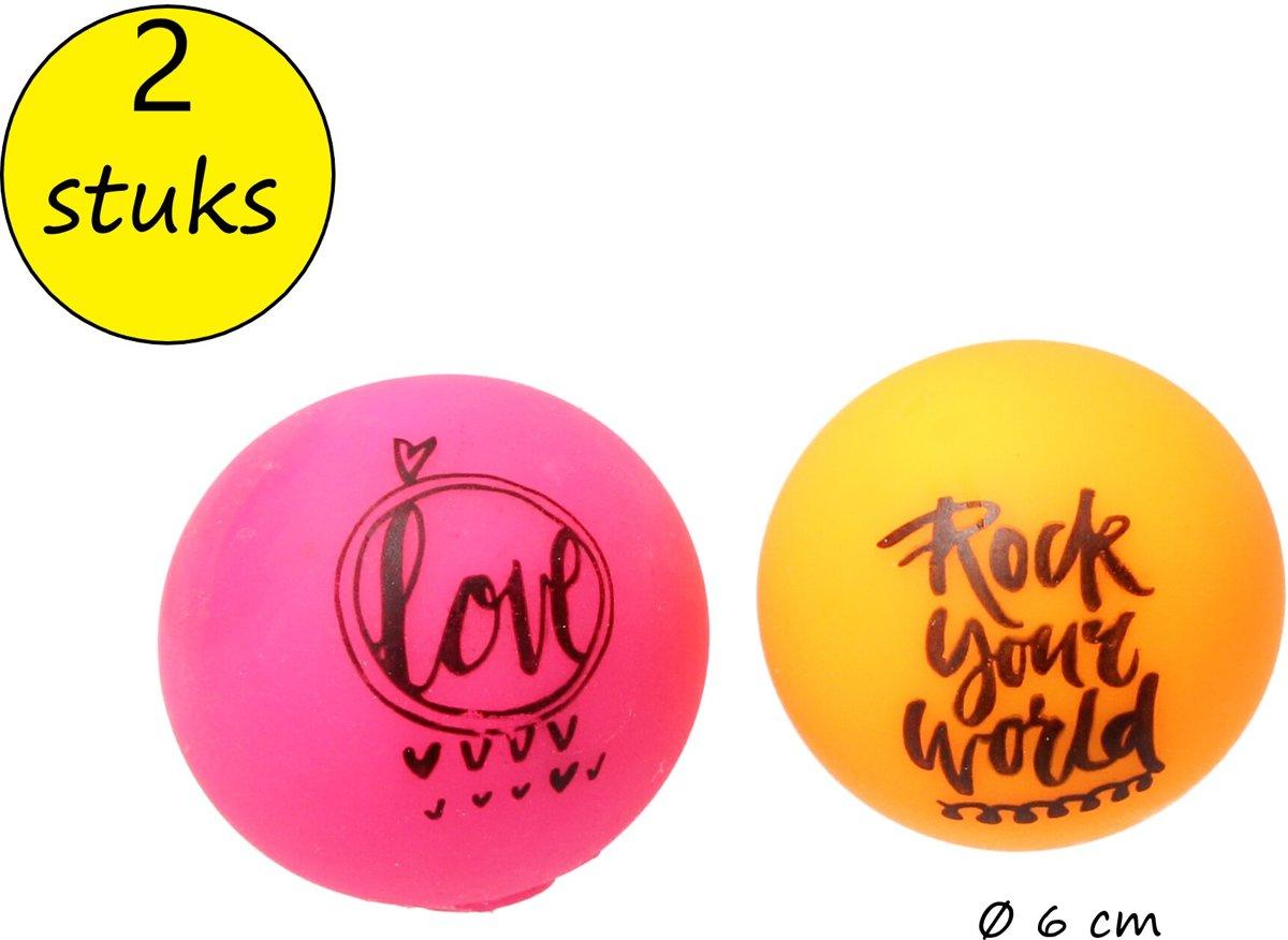 Anti-Stressbal met ontstressende Tekst – 2 Stuks – Squishy Stressbal – Knijp Speelgoed – Oranje, Roze