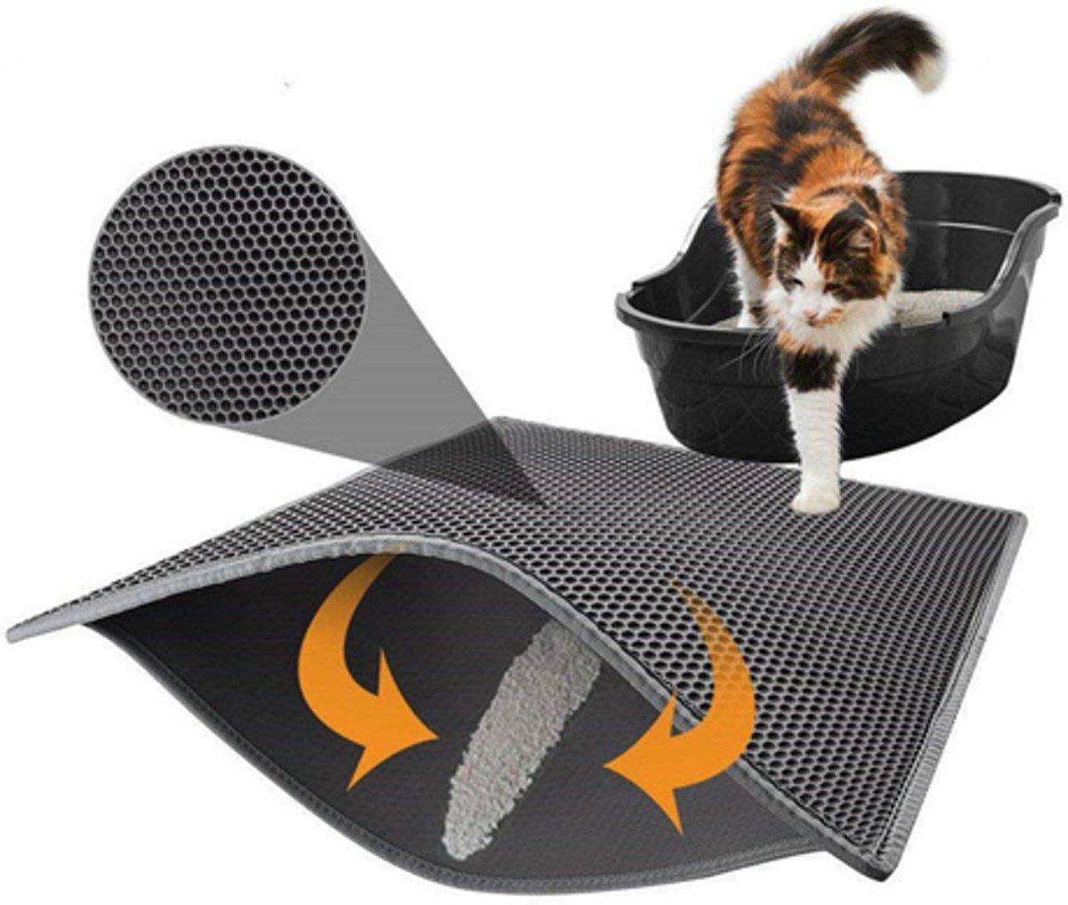 Kattenbak Mat - Waterdichte Dubbele Laag - Maat 55 x 70 cm - Tevens te gebruiken als krab mat kopen