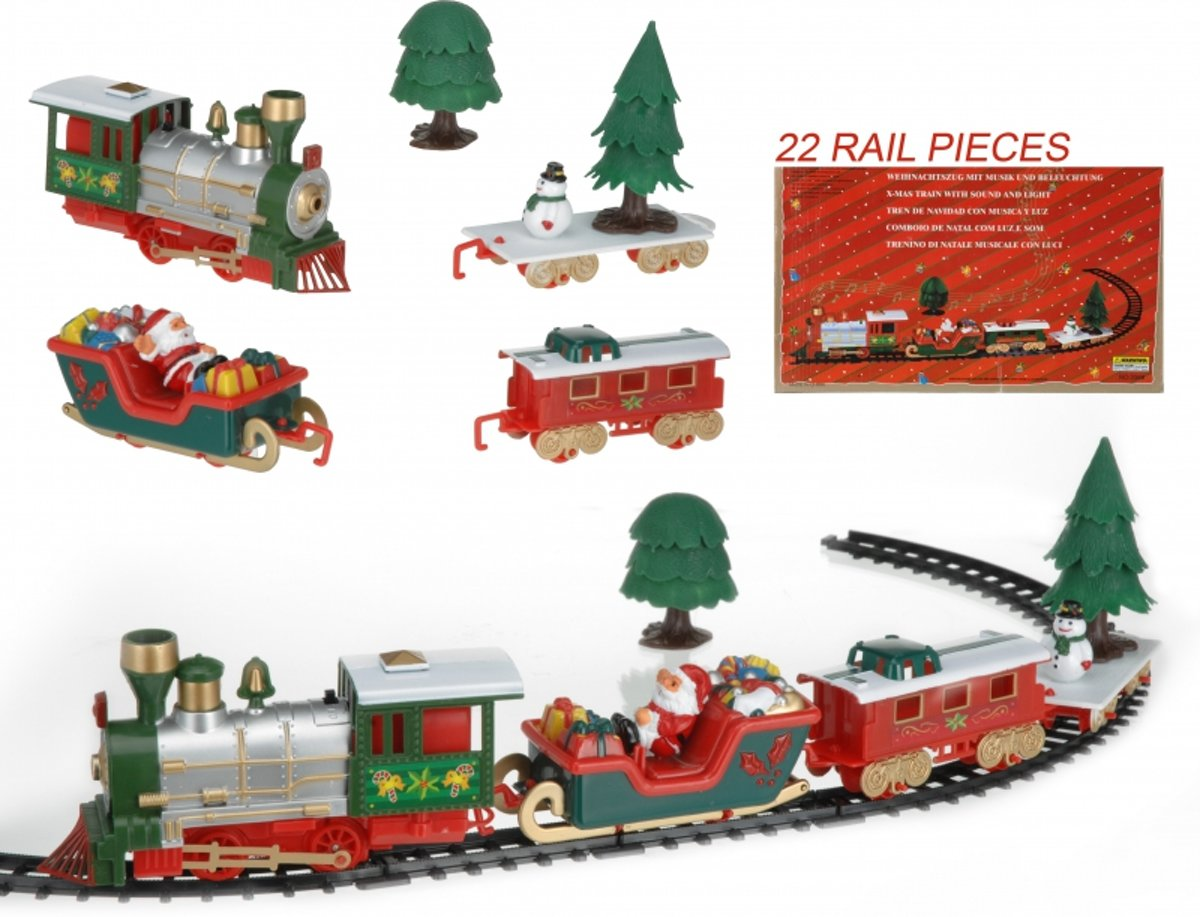 Rijdende kerst trein 22-delig kopen