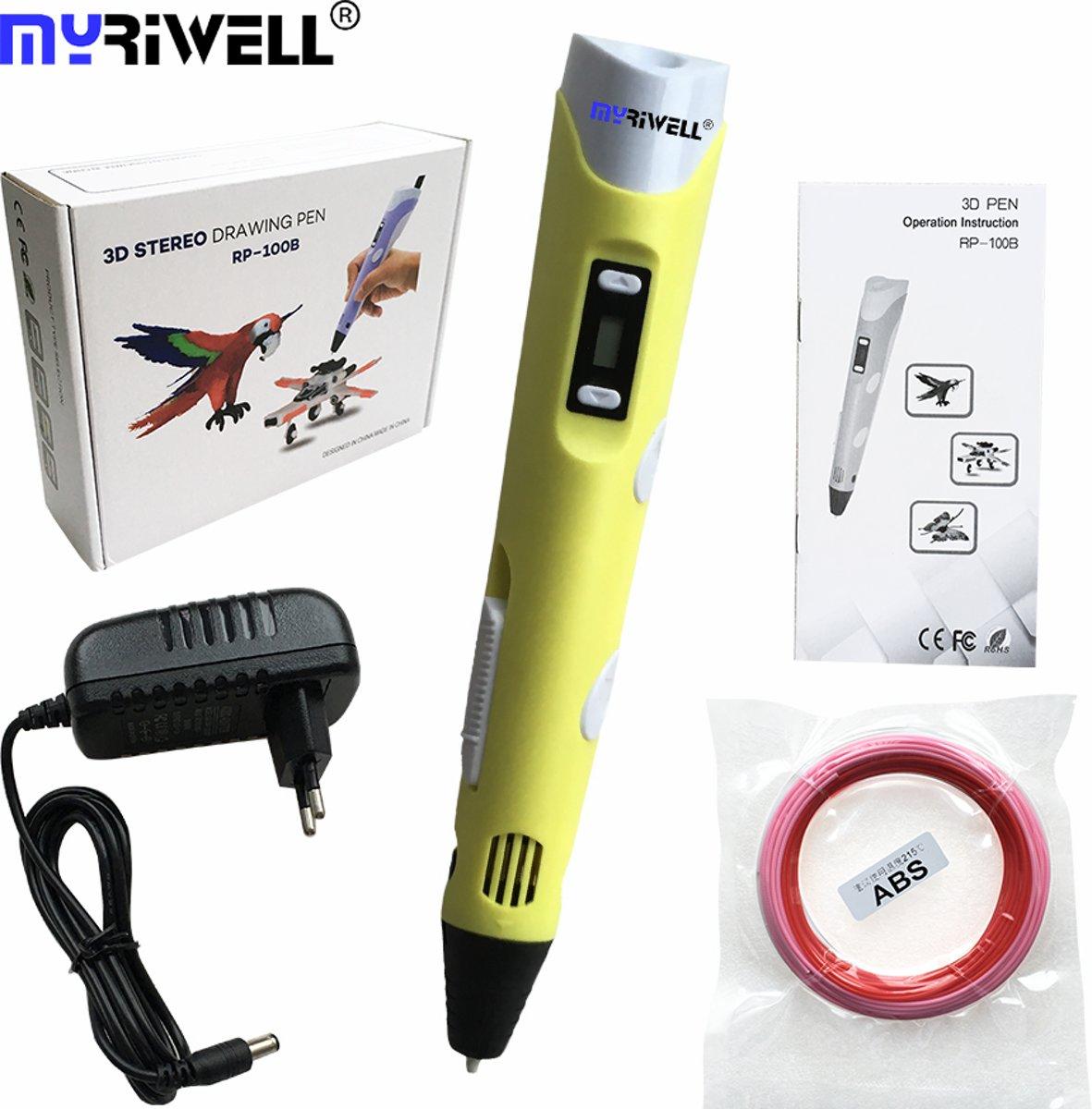 MyRiwell 3D pen met lcd scherm voor ABS en PLA 1.75mm filament - GEEL