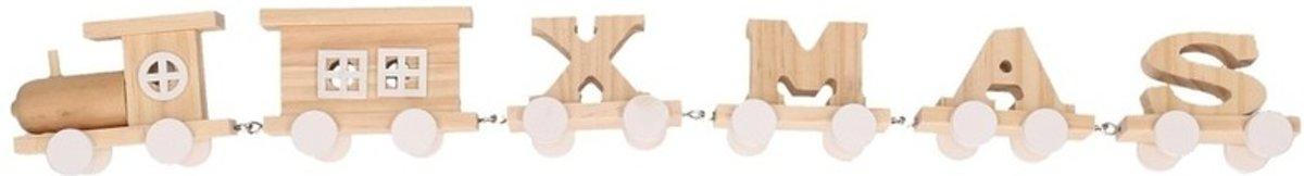 Witte houten kersttrein met tekst XMAS 46 cm kopen