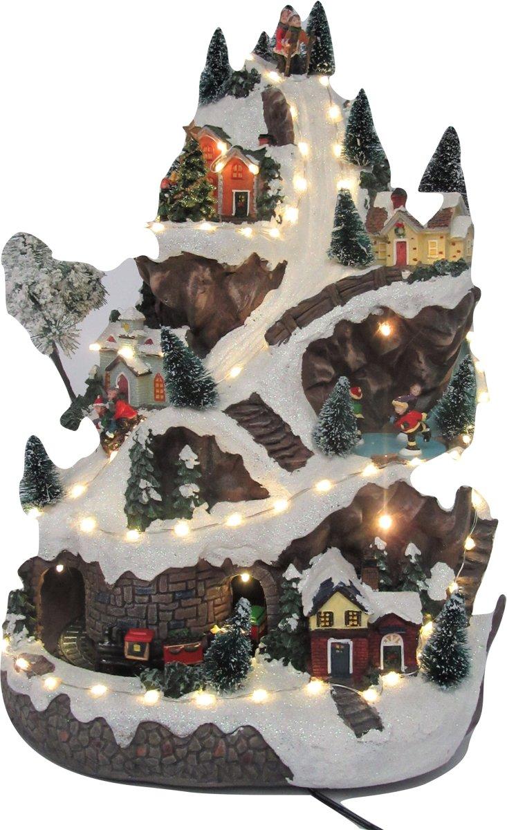 Skiberg groot - Kerstdorp - Kersthuis - Rijdende Trein - Ledverlichting - Kerstmuziek - H=50 cm kopen