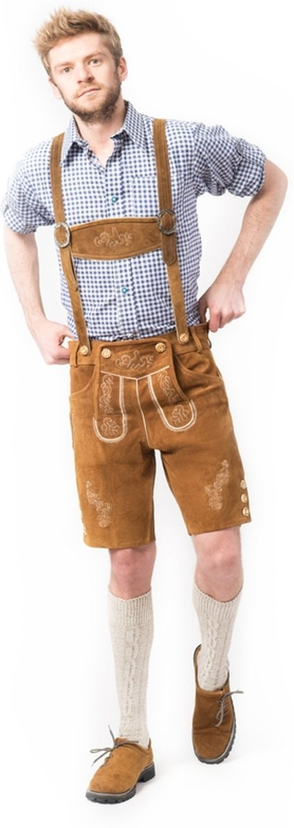 Oktoberfest korte bruine lederhose voor heren type: Anton, 100% leder mt 52