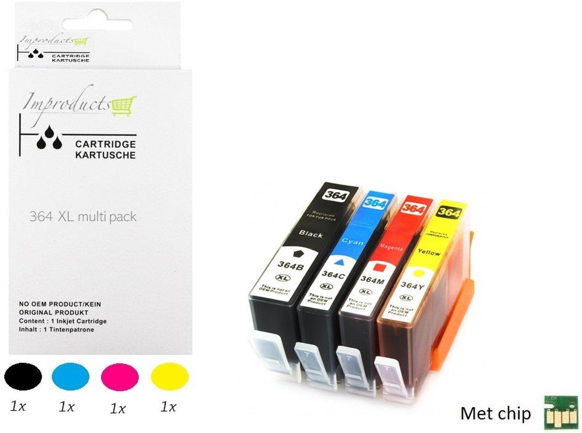Improducts® Huismerk Inktcartridge Alternatief Hp 364 XL 364XL serie 1x zwart 1x cyaan 1x magenta 1x geel MET CHIP - 1 set kopen