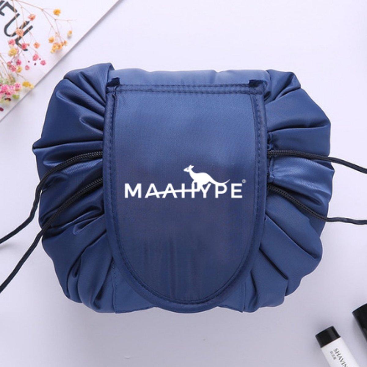 MaaHype Make-up organiser - Makeup opbergen - Accesoires organiser - Opbergsysteem - Reis toilettas - donkerblauw kopen