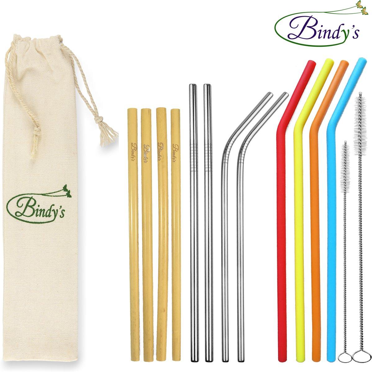 Bindy's - 15-Delige Set Herbruikbare Rietjes Mix – Familie Verpakking - 4 RVS Rietjes - 4 Bamboe Rietjes – 4 Siliconen Rietjes - incl. 2 Schoonmaakborsteltjes En Linnen Bewaarzakje