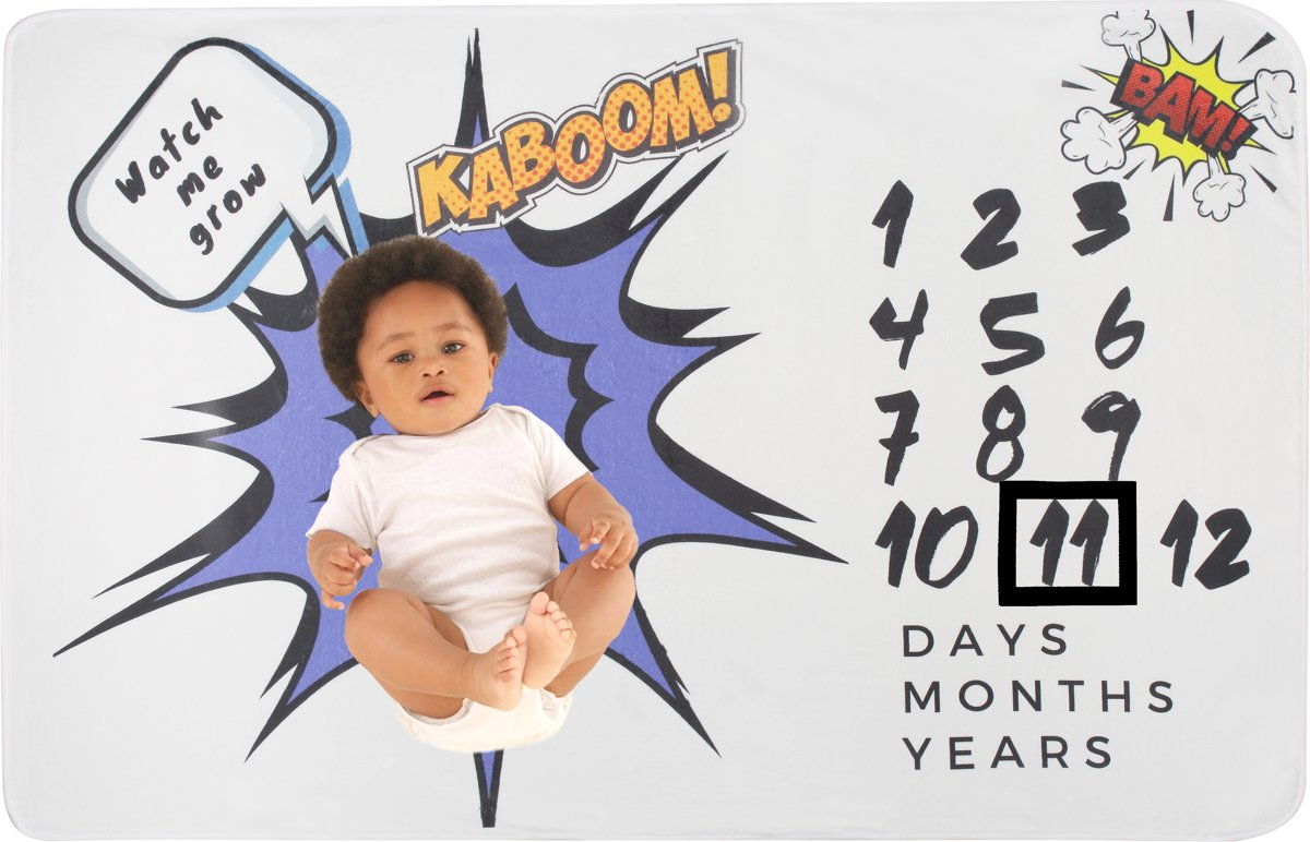 Mijlpaal deken - milestone deken - Kaboom - fotodoeken - unisex - Supercute - babyshower cadeau - kraamkado -