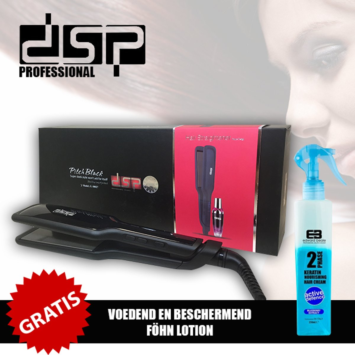 DSP Professional Pitch black Haar Stijltang G-10027 + Gratis Voedend En Beschermend Fohn Lotion