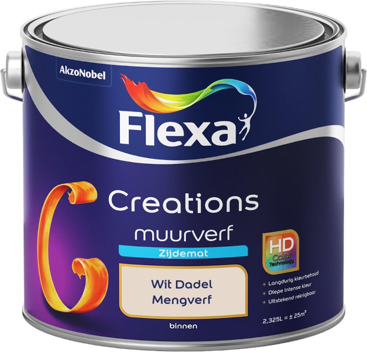 Flexa Creations - Muurverf Zijde Mat - Mengkleuren Collectie - Wit Dadel  - 2,5 liter