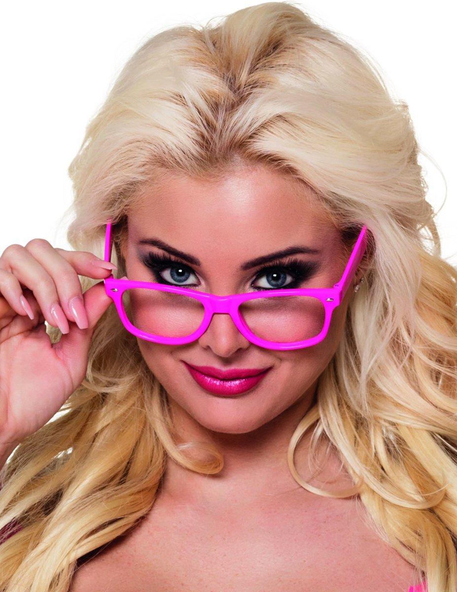 4 fluo roze brillen voor volwassenen - Verkleedattribuut kopen