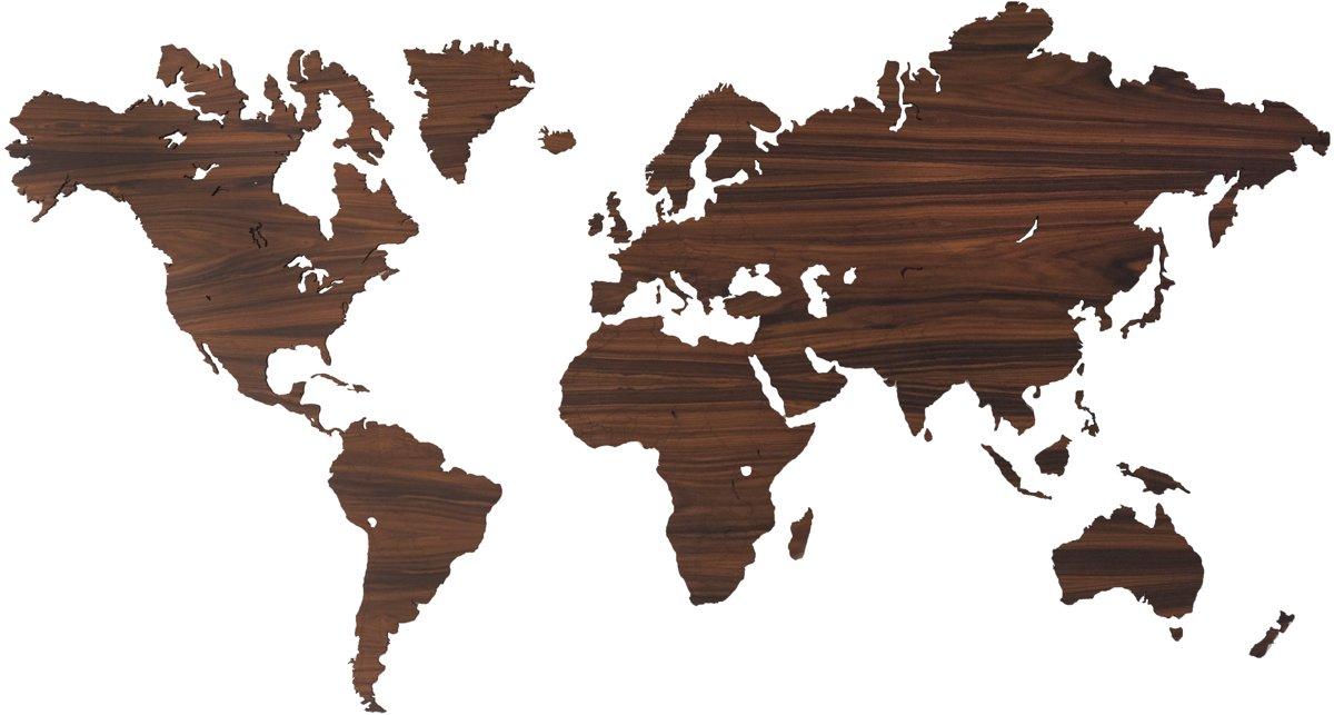 Houten wereldkaart palissander 160 x 86cm