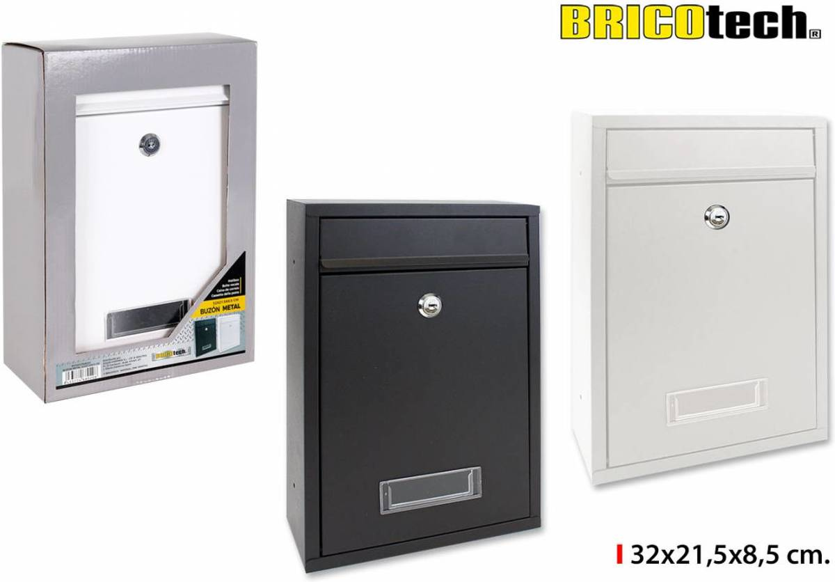 Bricotech Brievenbus 32 x 21,5 x 8,5 cm. Zwart of wit !!