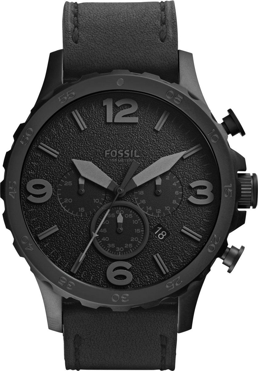 Fossil JR1354 - Horloge - Leer - Zwart - Ø 50 mm voor €65