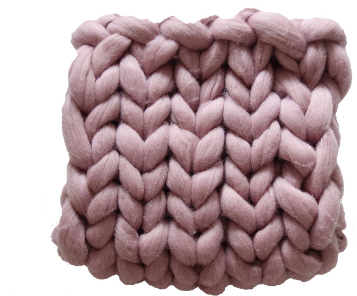 84ba837c71866c ... OUDROZE Wollen deken - woondeken - plaid handgemaakt van XXL merino wol  100 x 200 cm ...
