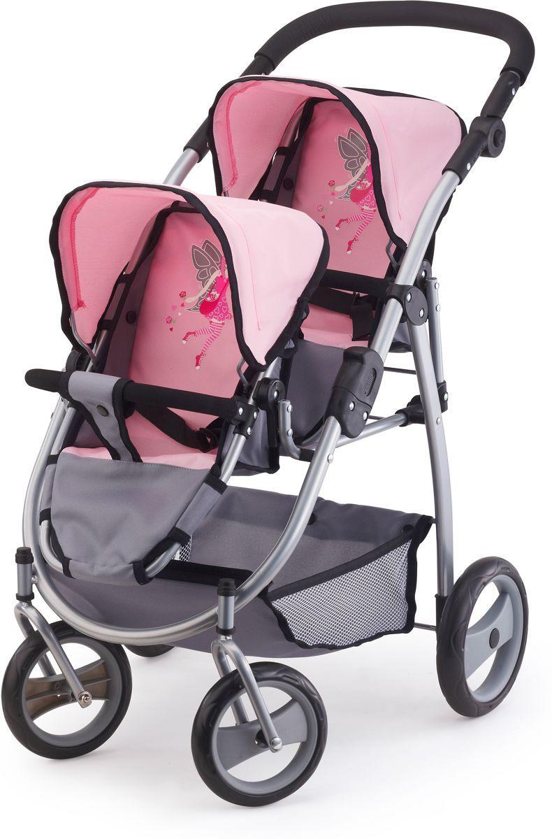 Poppenwagen Bayer tweelingen grijs/roze