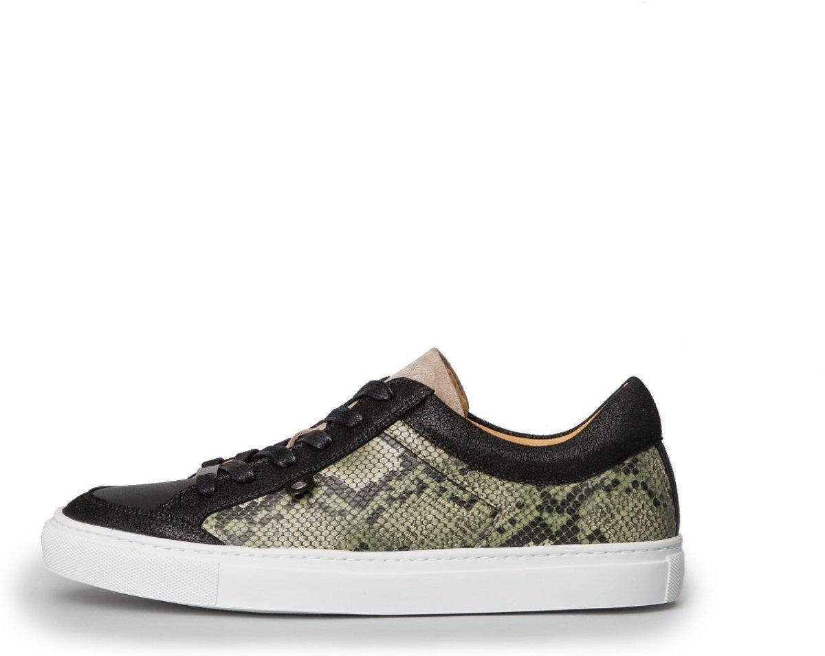 KUNOKA Alex 1.1a snake kaki Sneakers Dames Zwart Groen Slangenprint