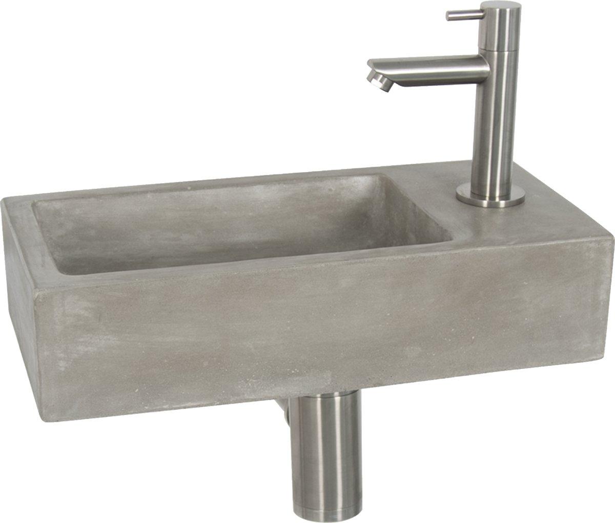Fonteinset Differnz Juti Rechthoek 38.5x18.5x9cm Beton Grijs Mat Verchroomde Toiletkraan Sifon Plug kopen