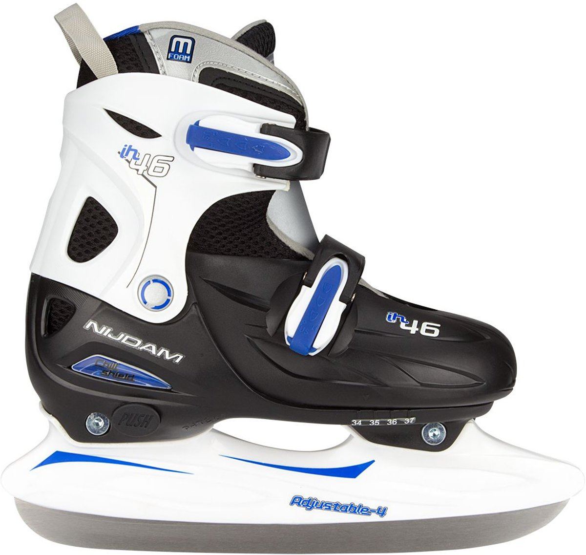 Nijdam Junior IJshockeyschaats Junior Verstelbaar - Hardboot - Zwart/Zilver/Blauw - 27-30