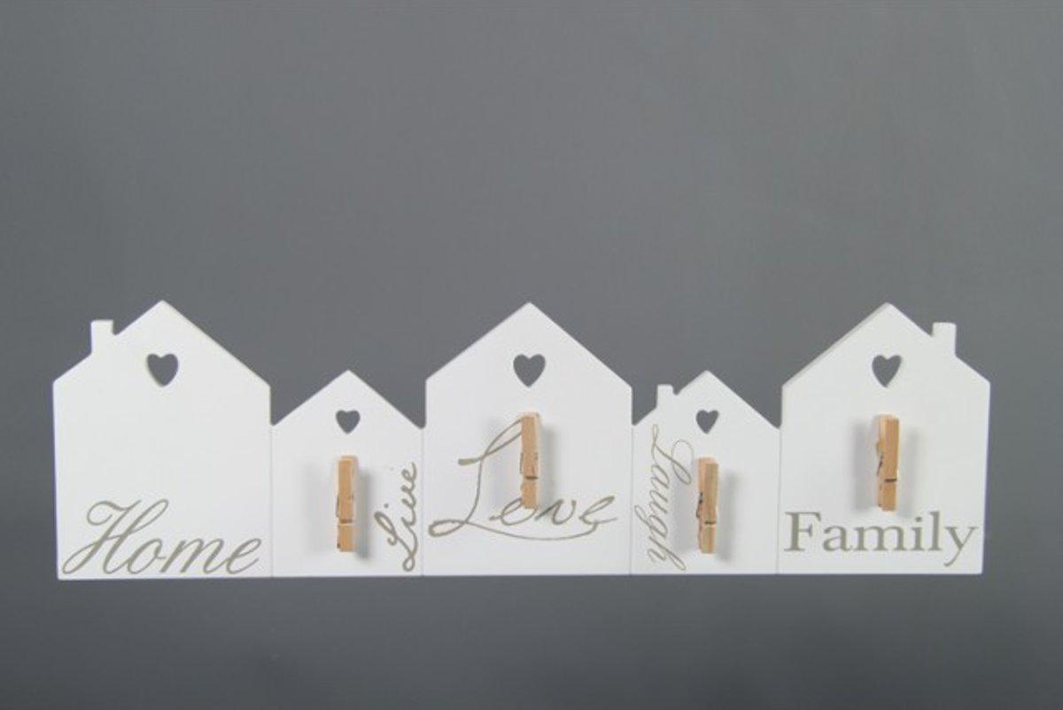 Wandbord Notitie Huis Hout met Clips Wit