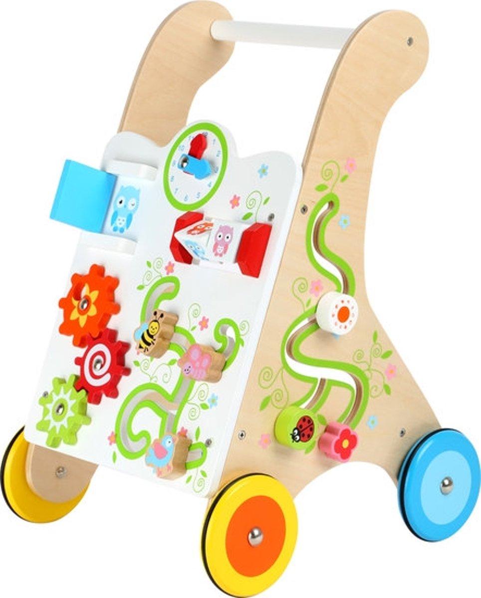 Loopwagen hout met activiteiten (baby walker) - Multi kleuren - Houten speelgoed vanaf 1 jaar - met veel felgekleurde details - rubberen wielen
