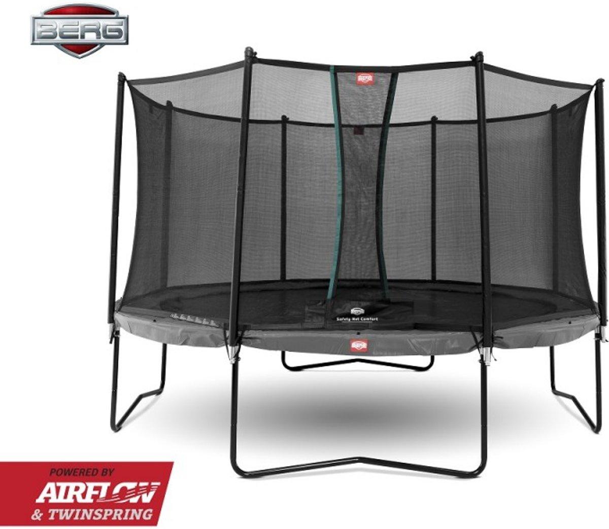 BERG Trampoline Champion grijs + Safetynet Comfort 330 cm - Model 2018 met Airflow