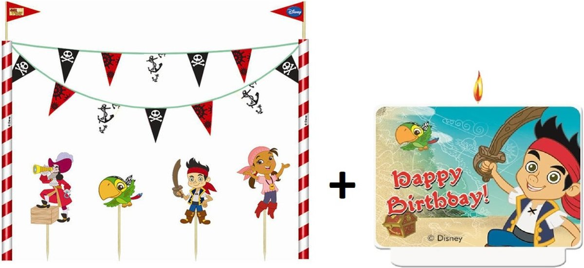 Disney Jake Neverland taart decoratie set + taartkaars