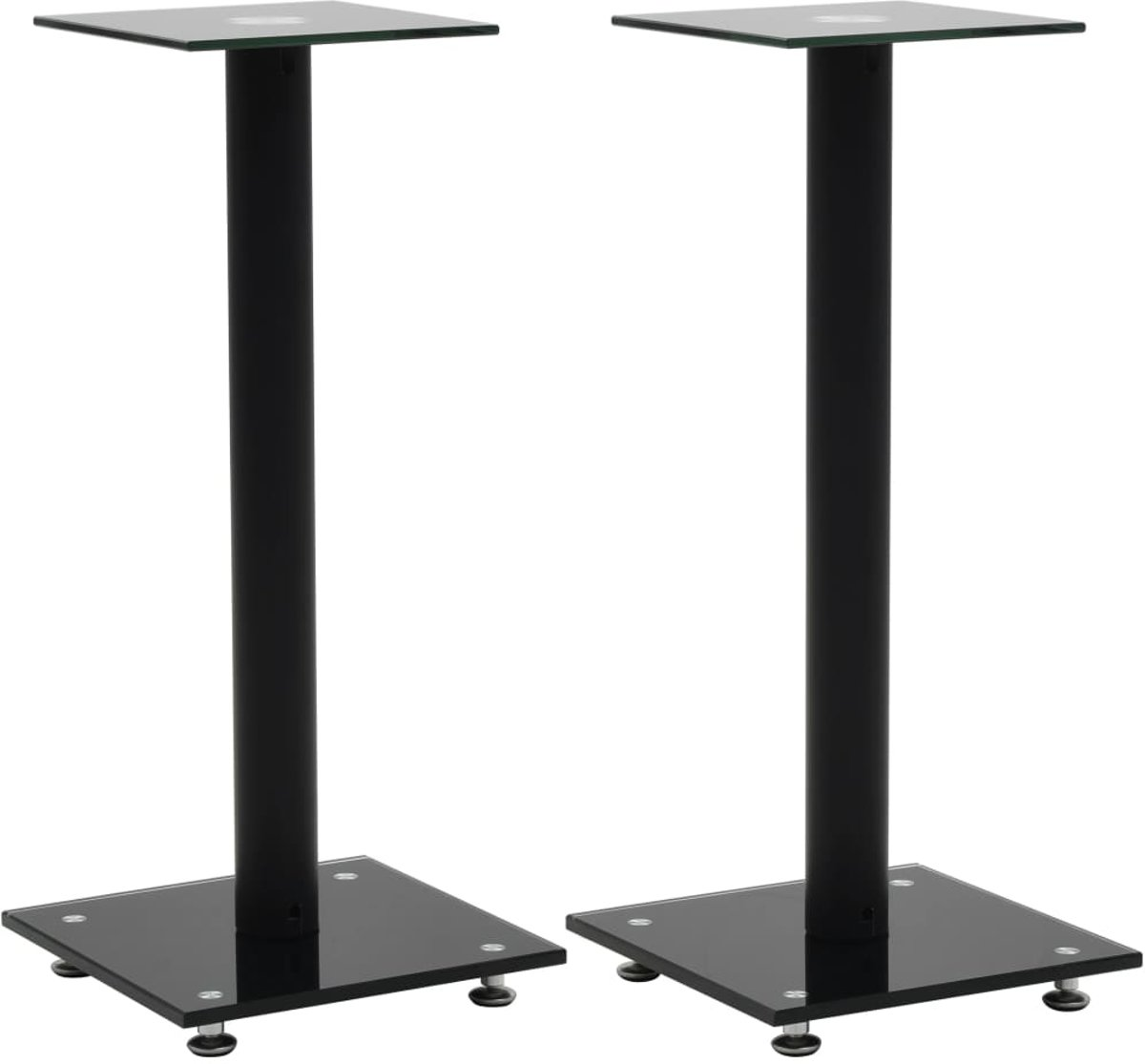 vidaXL Speakerstandaarden zuil-ontwerp gehard glas zwart 2 st kopen