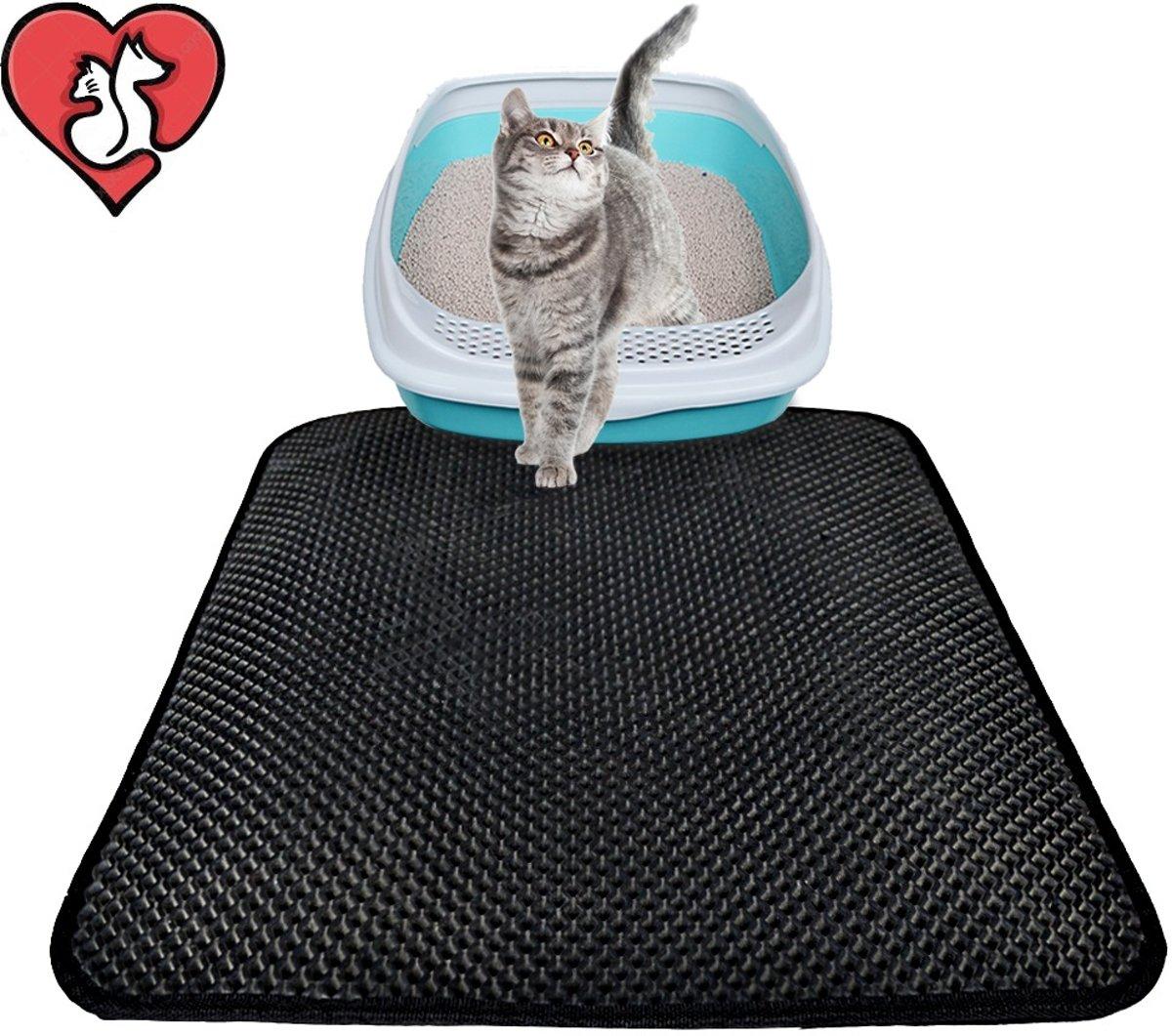 JVDB Kattenbakmat - Vangt kattengrit op - Dubbele laag - Waterproof - Kat - Kattenbakmat - Uitloop mat - Opvang mat - Poes kopen