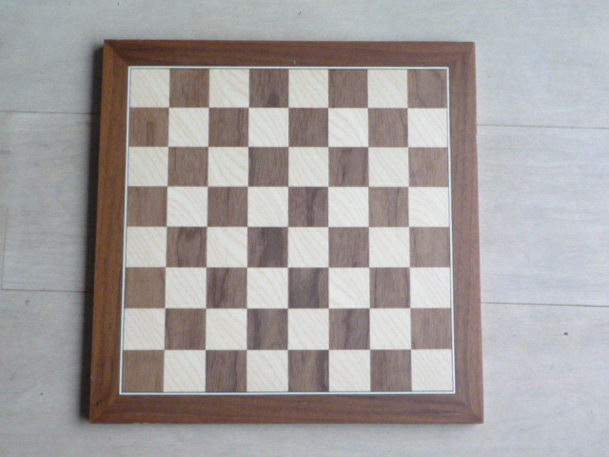 Schaakbord notenhout/ahorn 5cm
