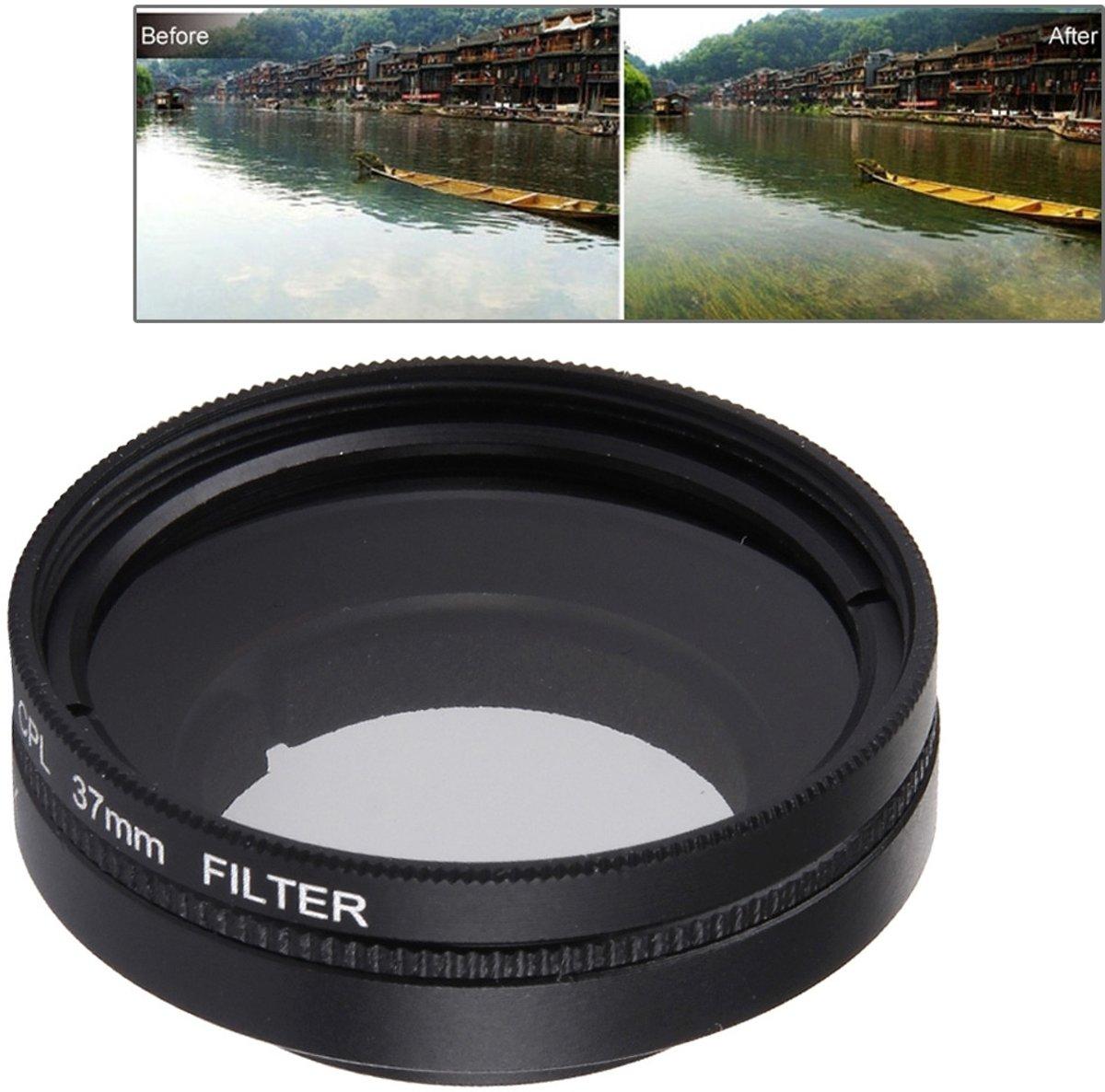 JUNESTAR voor Xiaoyi Xiaoyi Yi II 4K Sport actiecamera Proffesional 37mm CPL filter + lensbeschermkap kopen