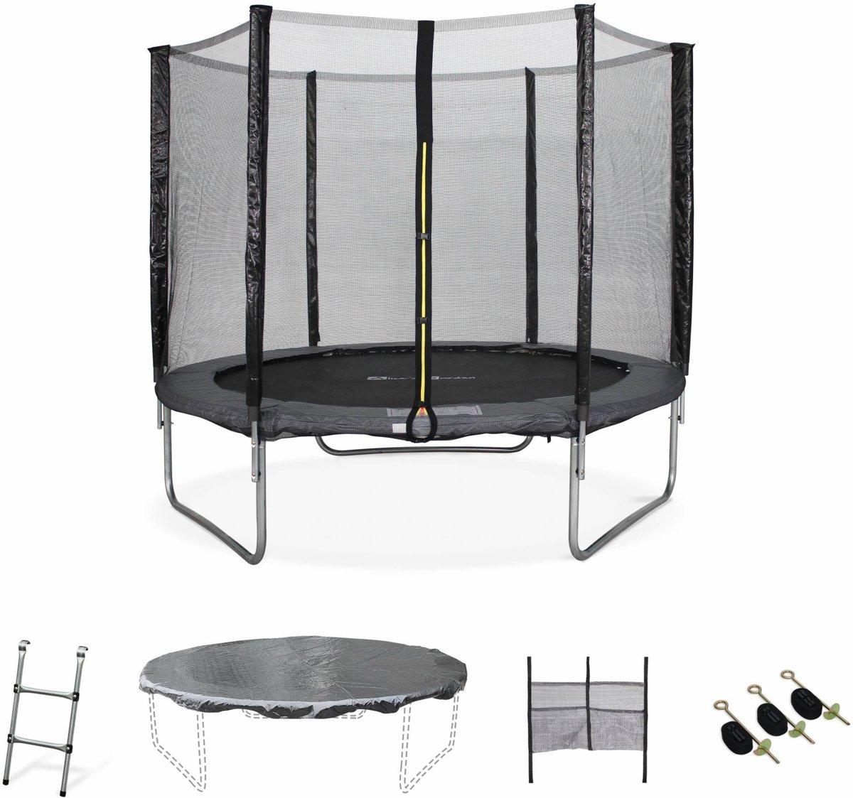 Trampoline Ø 250 cm, v veiligheidsnet, ladder, dekzeil, verankeringskit en opbergnet
