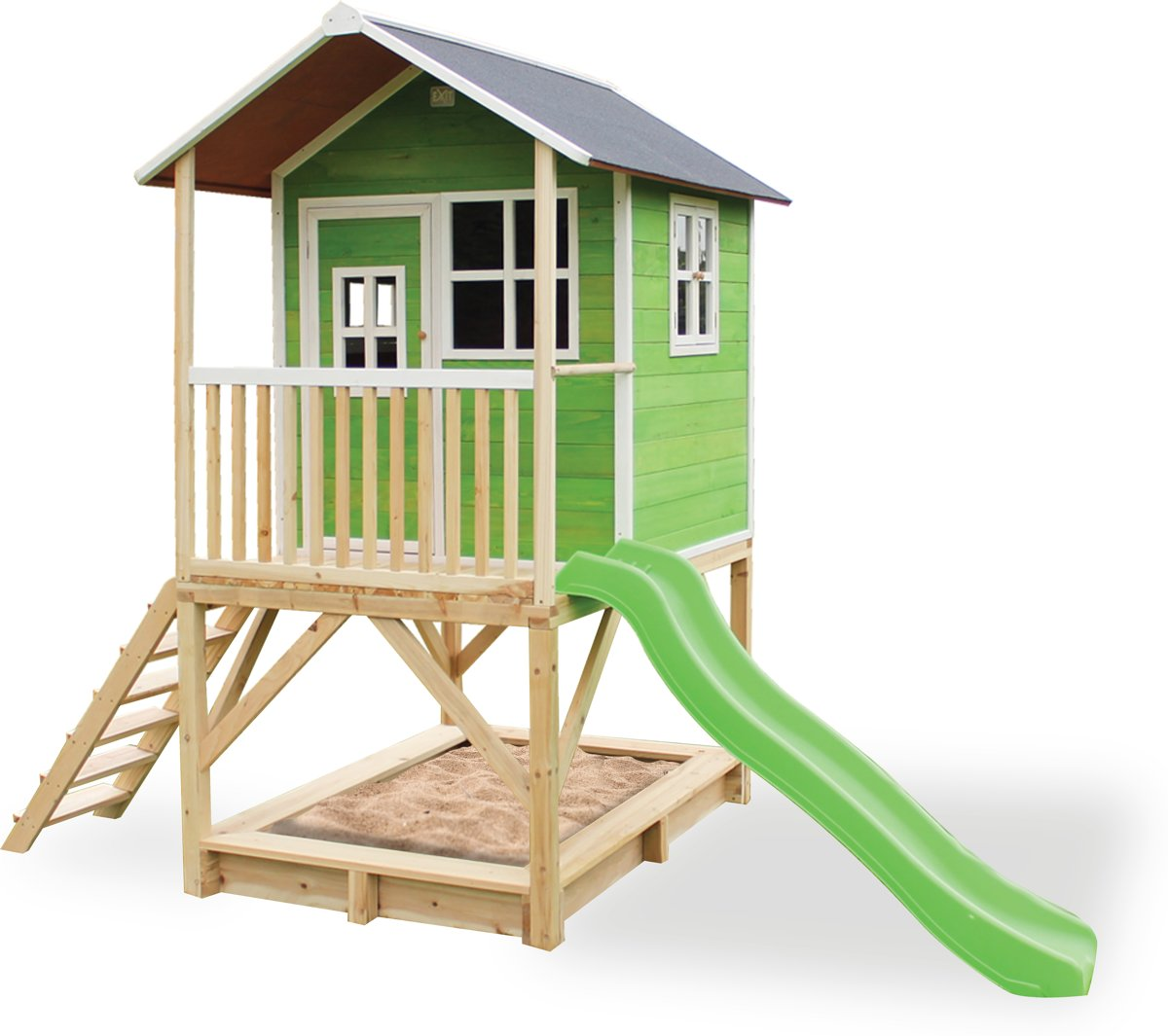EXIT Loft 500 - Speelhuis met glijbaan - Groen kopen