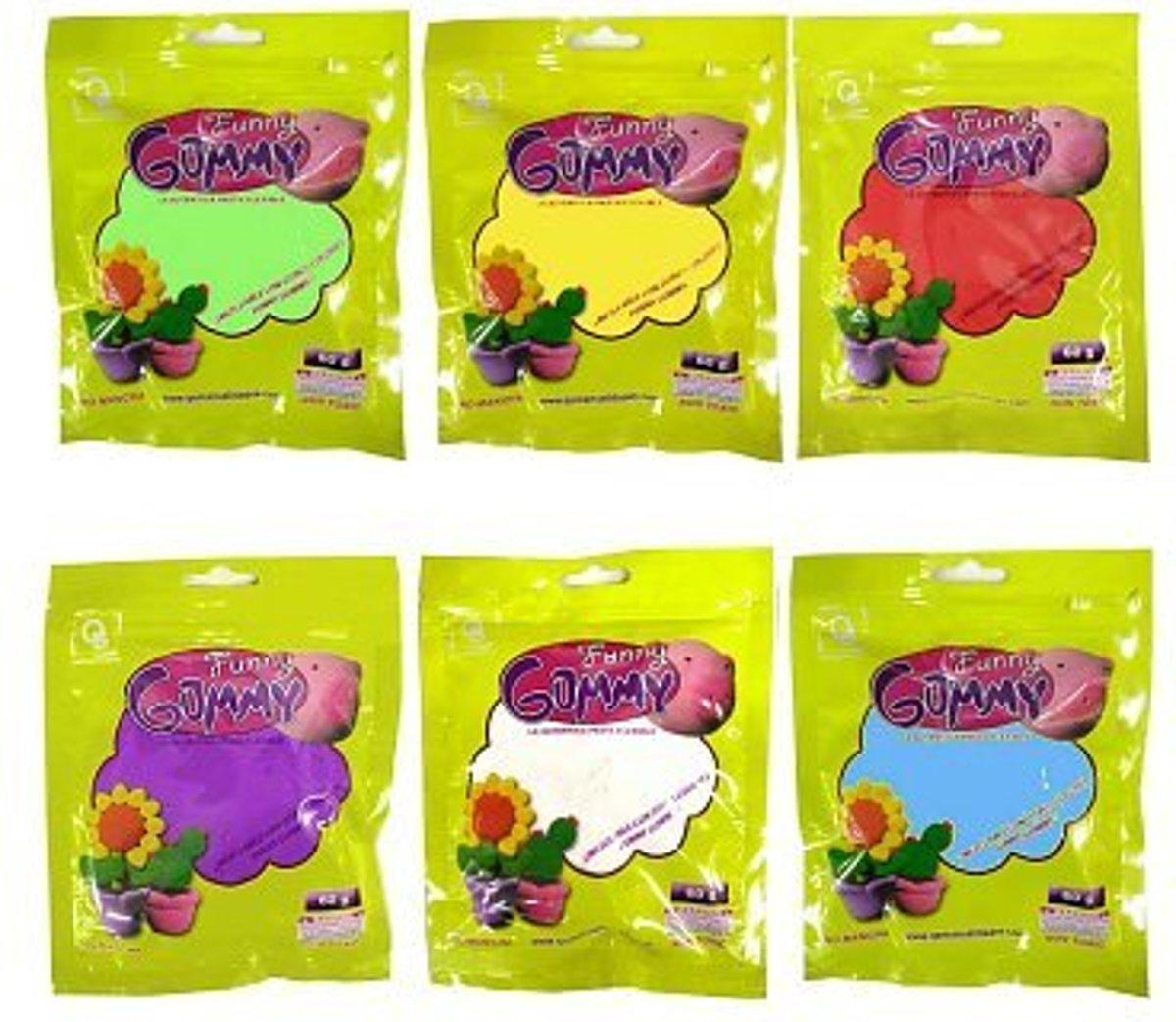 10x Funny Gummy - Speel Klei 60 Gram - Mix van Kleur + een gratis Cadeau