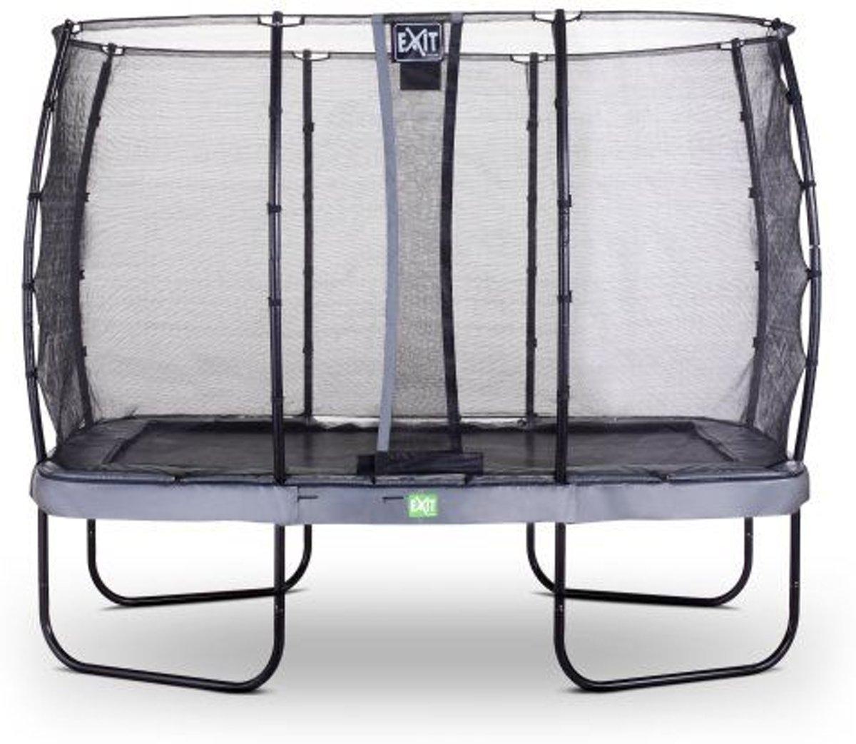 EXIT Elegant Premium trampoline 244x427cm met veiligheidsnet Economy - grijs