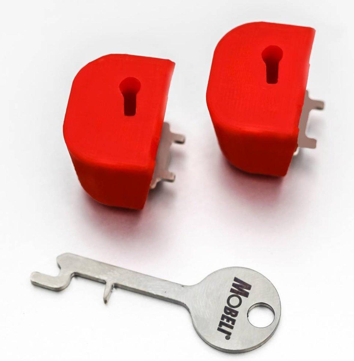 Vergrendeling Mobeli® met sleutel voor zuignap 2 rode items met 1 sleutel kopen