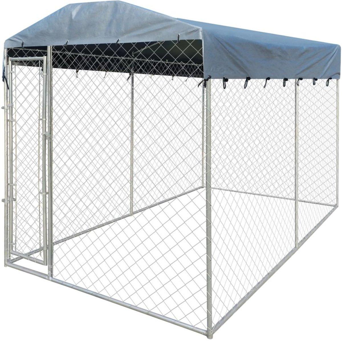 vidaXL Hondenkennel voor buiten met dak 4x2 m kopen