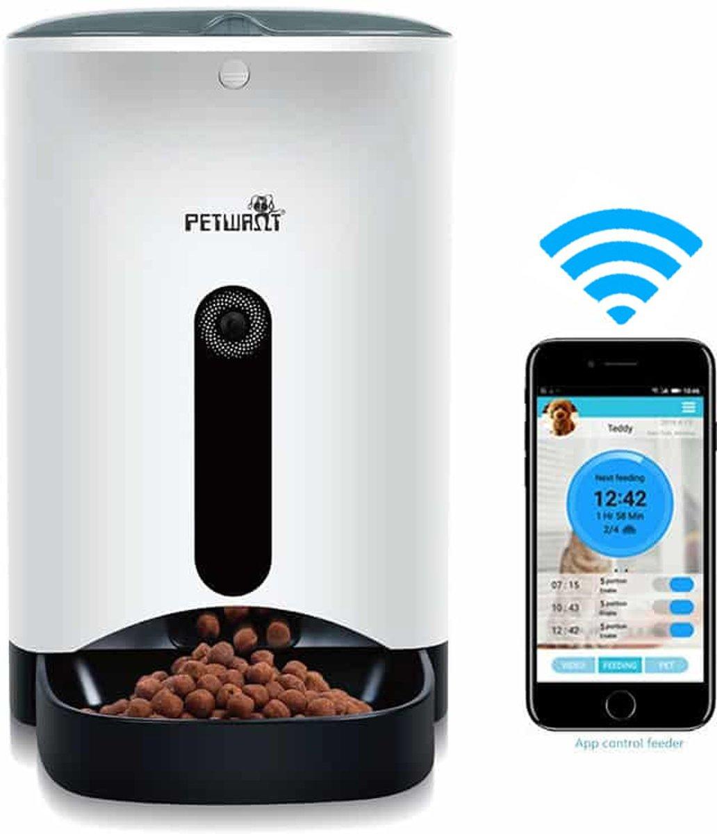 PetWant PF-103 Slimme Voerautomaat met Camera voor Hond, Kat en Konijn | Geef uw huisdier op vaste tijden automatisch eten | Eigenschappen: HD Camera, Twee Weg Audio, Verbind met App, WIFI Verbinding, Instelbaar Voedingsschema