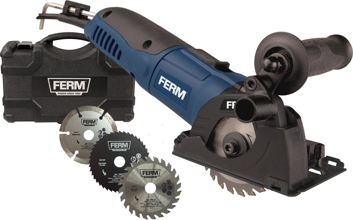 FERM CSM1043 Precisie cirkelzaag / Invalzaag / Mini cirkelzaag - 500W - variabele snelheden - Incl. 3 zaagbladen en opbergkoffer - geschikt voor het zagen van kunststof, laminaat en sanitair tegels