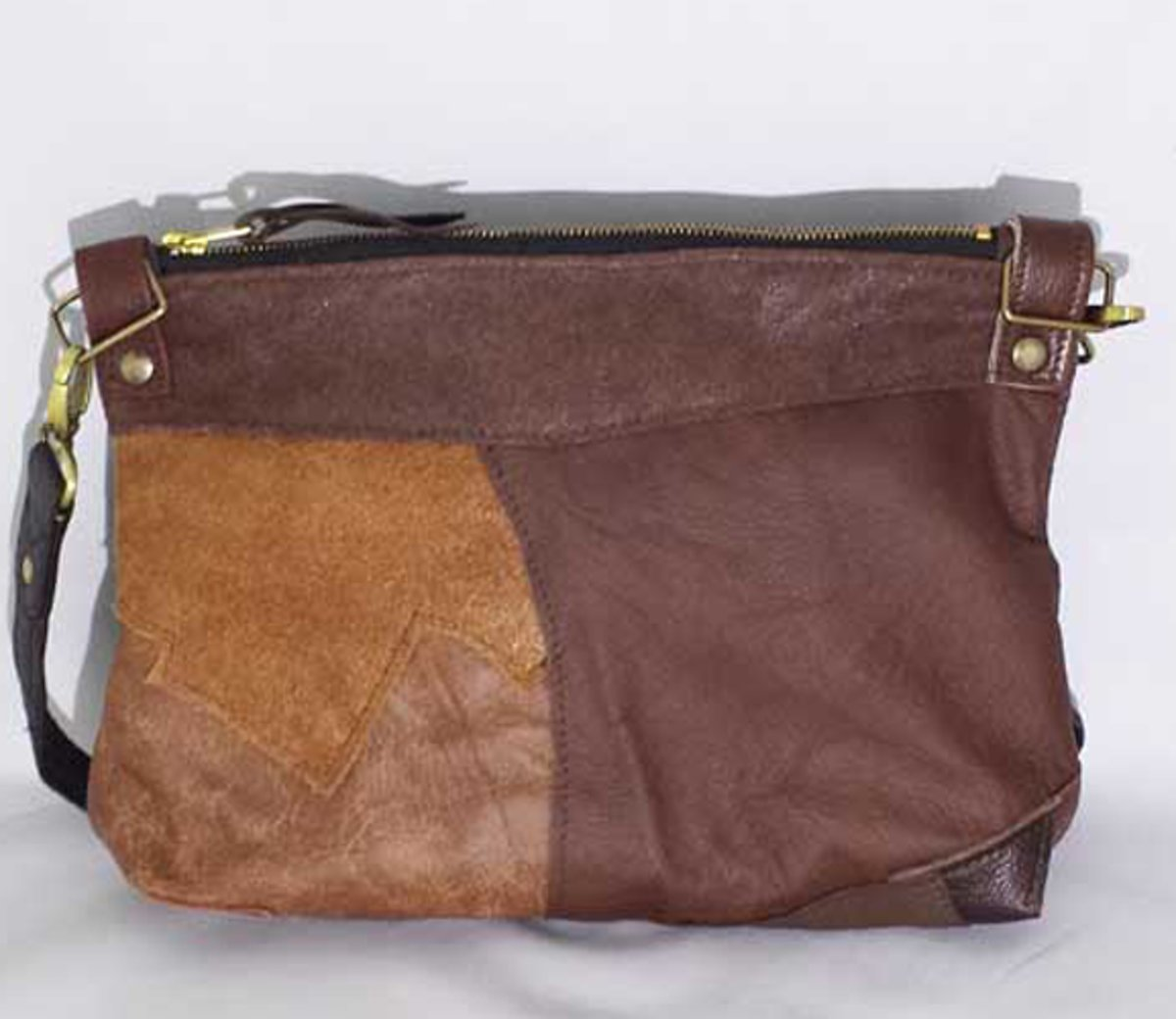 4f2e9232292 bol.com | Toetie & Zo Tas Leer Patchwork Bruin, handgemaakt, schoudertas,  crossover tas, heuptas